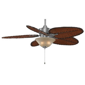 Islander Pewter 52-Inch Ceiling Fan with Antique Bamboo Blades and Amber Linen Glass Light Kit