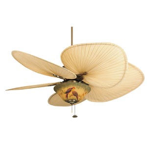 Islander Antique Brass Ceiling Fan with Palm Blades and Parrot Glass Light Kit