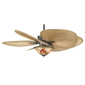 Islander Bronze Accent 52-Inch Ceiling Fan with Oval Palm Blades and Parrot Glass Light Kit