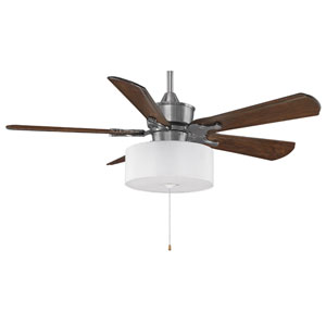 Islander Pewter 52-Inch Ceiling Fan with Walnut Blades and White Drum Light Kit