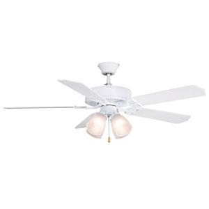 Aire Decor Builder Series Matte White 52-Inch Four-Light Ceiling Fan