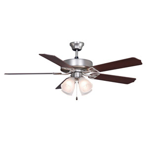 Aire Decor Builder Series Satin Nickel 52-Inch Four-Light Ceiling Fan with Reversible Cherry/Walnut Blades