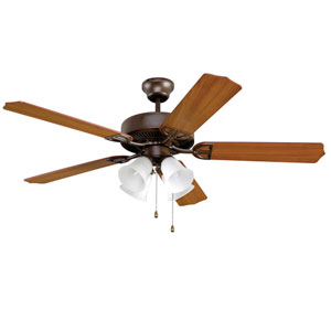 Aire Decor Builder Series Oil Rubbed Bronze 52-Inch Four-Light Ceiling Fan with Reversible Cherry/Walnut Blades