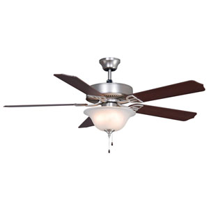 Aire Decor Builder Series Satin Nickel 52-Inch Three-Light Ceiling Fan with Reversible Cherry/Walnut Blades