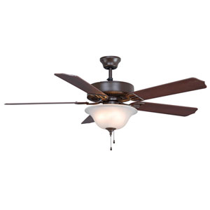 Aire Decor Builder Series Oil Rubbed Bronze 52-Inch Three-Light Ceiling Fan with Reversible Cherry/Walnut Blades