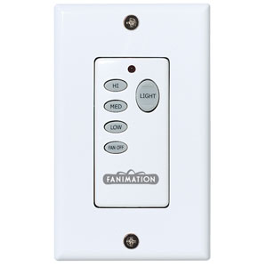 White Fan and Light Push Button Wireless Wall Control