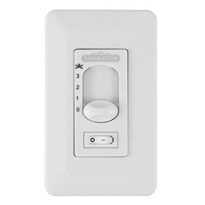 White Fan Slide Control with Light On/Off Toggle Switch