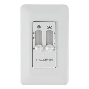 White 5-Fan 3-Speed Wall Control