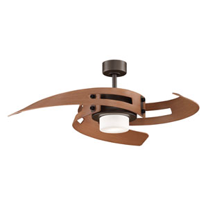 Avaston Oil-Rubbed Bronze Ceiling Fan with Cherry Blades and Frosted Opal Glass