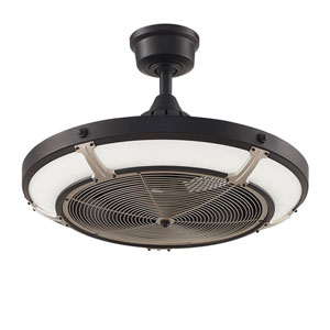 Pickett Drum Black with Brushed Nickel Accents 24-Inch LED Ceiling Fan