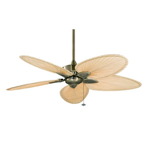 Windpointe Antique Brass Ceiling Fan with Narrow Oval Natural Palm Blades