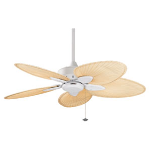 Windpointe Matte White Ceiling Fan with Narrow Oval Natural Palm Blades