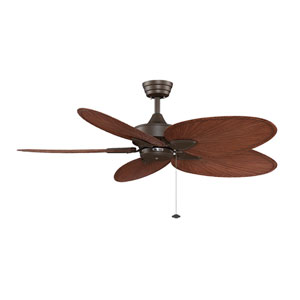 Windpointe Oil Rubbed Bronze 52-Inch Ceiling Fan with Palm Brown/Red Blades