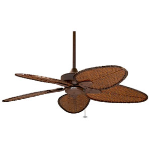 Windepointe Rust Ceiling Fan with Narrow Oval Antique Bamboo Blades
