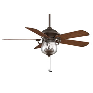 Crestford Oil Rubbed Bronze Ceiling Fan with Reversible Cherry/Walnut Blades and Seeded Glass