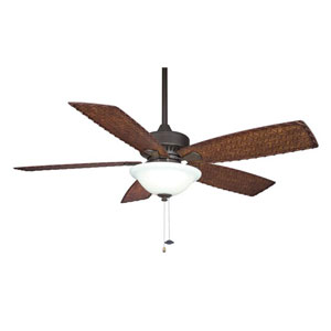 Cancun Oil-Rubbed Bronze 220V 52 Inch Blade Span Ceiling Fan w/ Dark Brown/Red Tight Weave Blade
