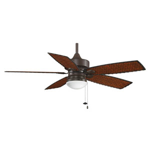 Cancun Oil Rubbed Bronze 52-Inch Outdoor Ceiling Fan with Antique Woven Bamboo Blades and White Frosted Glass