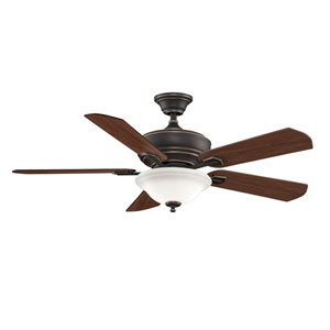 Camhaven Bronze Accent Ceiling Fan with Reversible Cherry/Walnut Blades and Frosted White Glass