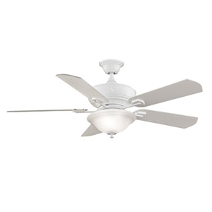 Camhaven White Ceiling Fan with Frosted White Glass