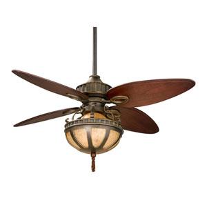 Bayhill Venetian Bronze 220V 56 Inch Blade Span Ceiling Fan w/ Cairo Purple Blade