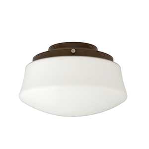 Low Profile White One-Light Kit with Flared Opal Frosted Glass
