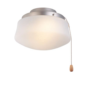 Low Profile White One-Light Kit with Flared Amber Linen Glass