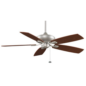 Edgewood Decorative Satin Nickel 52-Inch Energy Star Ceiling Fan with Reversible Walnut/Light Walnut Blades