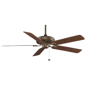 Edgewood Deluxe Aged Bronze Energy Star Outdoor Ceiling Fan with Dark Cherry Blades