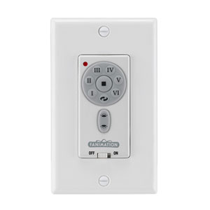 White DC Reversible Fan and Light Wall Control