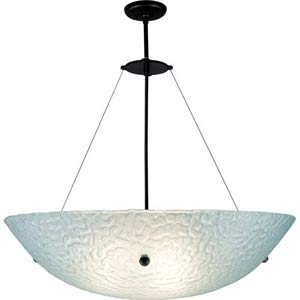 Bowl Large Phantom Frost Bowl Pendant with 46-Inch OA Drop