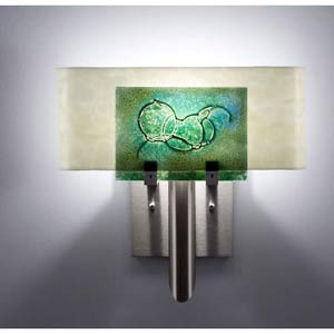 Dessy One Wired Green/Snow Curved Back Wall Sconce