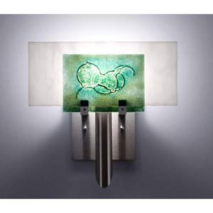 Dessy One Wired Green/White Flat Back Wall Sconce
