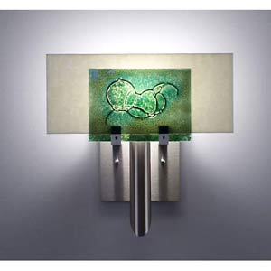 Dessy One Wired Green/Snow Flat Back Wall Sconce