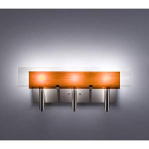 Dessy Three Amber/White Flat Back Three-Light Bath Fixture
