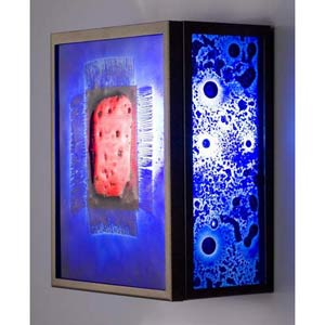 F/N Three Fluorescent Red Window Blue Two-Light Wall Sconce