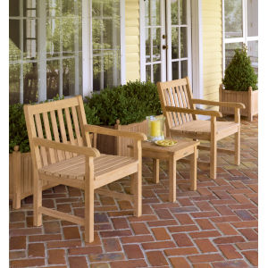 Classic Natural Outdoor Chair and End Table Set, 3-Piece