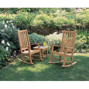 Classic Natural Outdoor Rocking Chair and End Table Set, 3-Piece