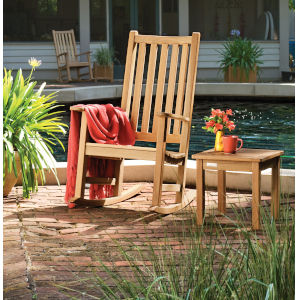 Classic Natural Outdoor Rocking Chair and End Table Set, 2-Piece