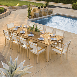 Travira Silver and Tekwood Natural 11-Piece Dining Set With Natural Armchairs