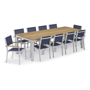 Travira Silver and Tekwood Natural 11-Piece Dining Set With Blue Armchairs