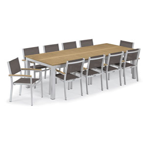 Travira Silver and Tekwood Natural 11-Piece Dining Set With Cocoa Armchairs