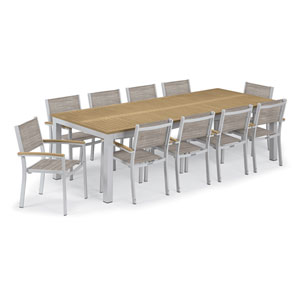 Travira Silver and Tekwood Natural 11-Piece Dining Set With Bellows Armchairs