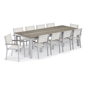 Travira Silver and Vintage 11-Piece Dining Set With Natural Armchairs