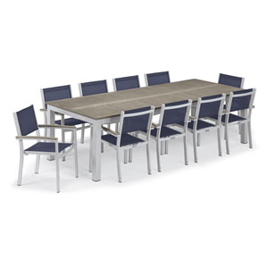 Travira Silver and Vintage 11-Piece Dining Set With Blue Armchairs