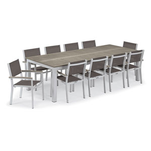 Travira Silver and Vintage 11-Piece Dining Set With Cocoa Armchairs