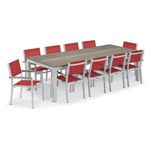 Travira Silver and Vintage 11-Piece Dining Set With Red Armchairs