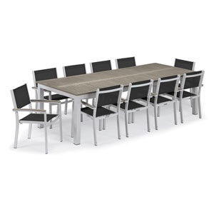 Travira Silver and Vintage 11-Piece Dining Set With Ninja Armchairs