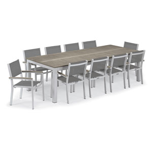 Travira Silver and Vintage 11-Piece Dining Set With Titanium Armchairs
