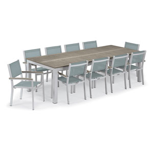 Travira Silver and Vintage 11-Piece Dining Set With Slate Armchairs