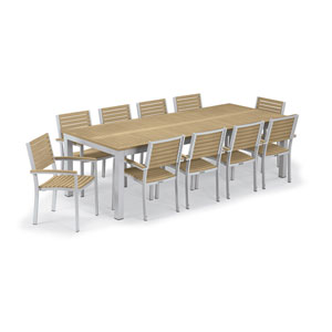 Travira Silver and Tekwood Natural 11-Piece Table and Slat Armchair Dining Set